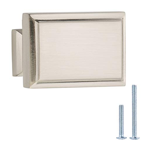 Austin & Mills AM-CH106, Satin Nickel, 1-1/2-Inch Rectangular Cabinet Knob, 5 Pack