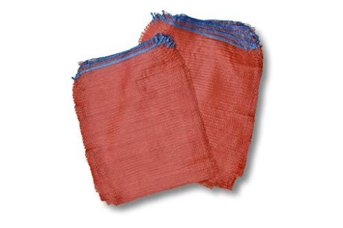 1 Pack (100 Stück) 10 kg Größe 43x63 cm Gemüsesäcke Raschelsäcke Obstsäcke Netzsäcke Zwiebelsäcke Holzsäcke Brennholzsäcke Säcke aus Raschelgewebe Säcke mit Zugband rot