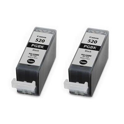 2 x originales genuinos Canon 520 para impresora (PGI-520BK) Cartucho de tinta negro para Pixma iP3600 iP4600 IP 4600 x iP4700 MP540 MP 540 x MP550 MP560 MP620 MP620B MP630 MP640 MP990 MX860 MX870 MP980 impresoras embalaje en aluminio (sin caja)