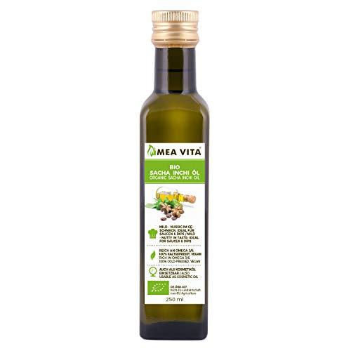 Aceite de Bio Sacha Inchi MeaVita, 100% puro y prensado en frío, 1 paquete (1 x 250 ml)