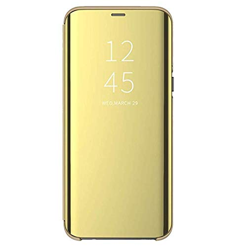 Carcasa Samsung Galaxy S7 Flip Fundas Espejo PC Clear View Transparente 360° Protectora Anti-Choque Ultra Delgado con Función de Soporte Cover para Galaxy S7 Edge 2016 (S7, Oro)