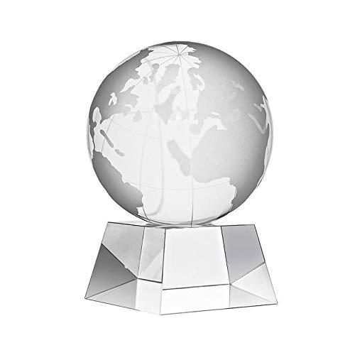 CRISTALICA Glasblock Globus Weltkugel Tarra Skulptur Auszeichnung aus Glas 10cm
