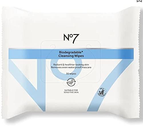 Toallitas limpiadoras biodegradables No7 30 toallitas adecuadas para pieles sensibles