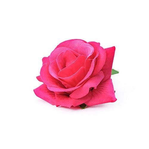 Niumanery Women Velvet Cloth Rose Hair Clip Simulation Artificial Flower Corsage Brooch Pin Wedding Party Flamenco Dancer Hair Accessories Pink