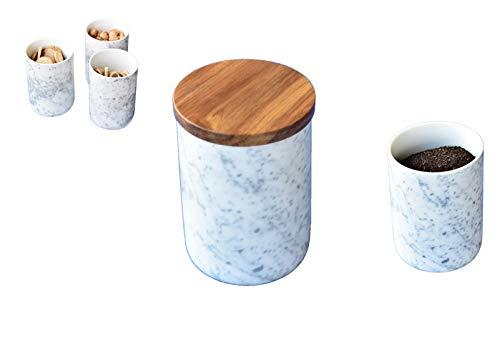 LA VITA VIVA 3 Dekorative Aufbewahrungsdosen aus Porzellan mit Deckel aus Akazienholz und Silikondichtung