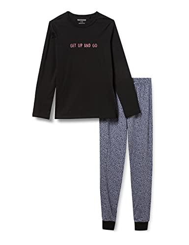 Schiesser Mädchen Langer Mädchen Schlafanzug Pyjamaset, Schwarz, 176 EU