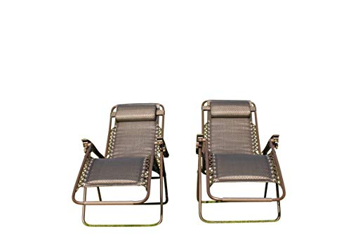 SET OF 2 Padded Garden Sun Lounger Relaxer Recliner Chairs in BROWN Tweed Weatherproof Textoline