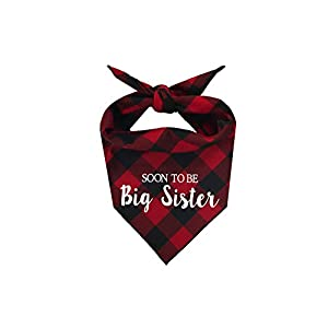 Willowear Dog Bandanas Soon to be Big Sister Red Large
