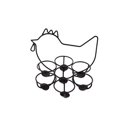LIOOBO Metall Eierhalter Eierständer Eierbecher für 7 Eier Frühstück DIY Ostern Deko Tischdeko (Dunkelbraun)