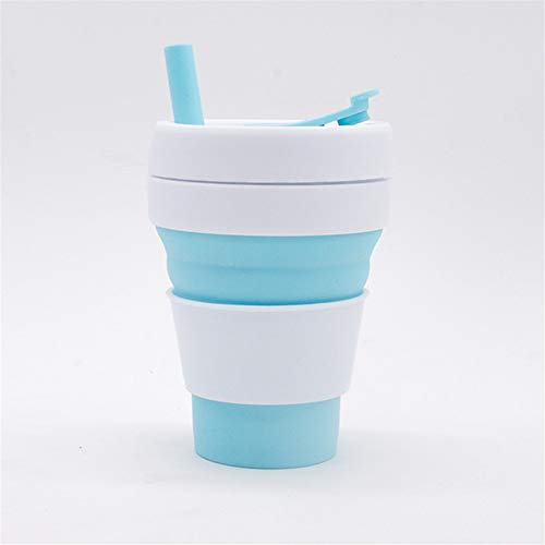 TLLW Taza de café plegable | taza de café de silicona plegable | reutilizable | plegable | taza de viaje | tazas de café de silicona plegable | 355 ml|| 450 ml, silicona, azul claro, 355ml