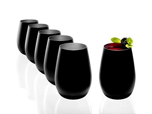 Stölzle Lausitz - Juego de 6 vasos de agua (465 ml, mate, apto para lavavajillas, cristal sin plomo, alta calidad), vidrio, Negro (mate), plata., 465ml