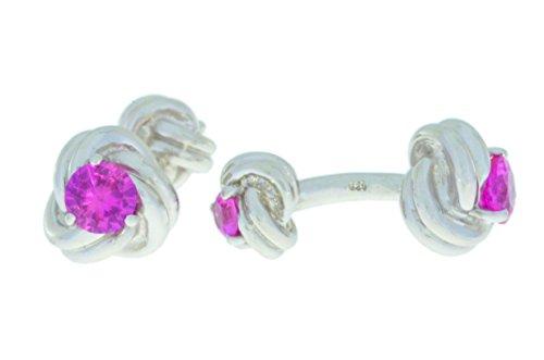 2,5 carats créés saphir rose noeud Boutons de manchette plaqué rhodium