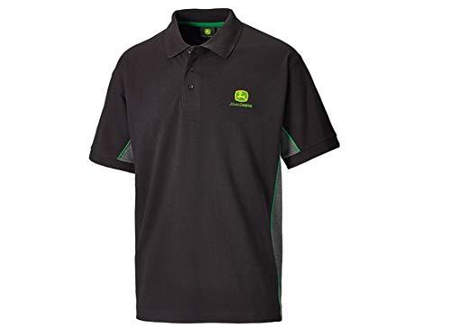 John Deere Poloshirt mit seitlichen Kontrastaufsätzen, Schwarz, XL