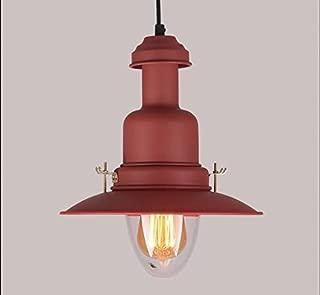 1pcs Colorful lights pendant light residential lighting retro lantern fisherman bedroom bedside dining hall aisle cafe color pendant lamps WL6021457PY (Size : Red 1PCS)