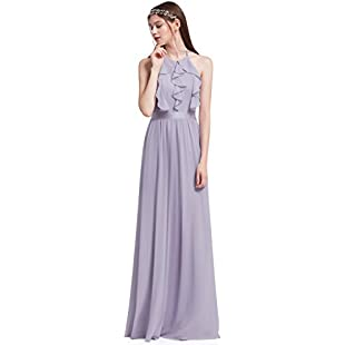 Customer reviews Ever Pretty Women's Elegant Halter Neckline Ruffles Backless Floor Length Empire Waist Homecoming Dresses Dusty Lilac 16UK:Greatestmixtapes