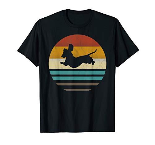 Dackel Dackelhund Silhouette Retro Geschenk T-Shirt