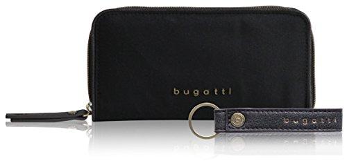 Bugatti Contratempo Geldbörse Damen Groß RFID - Frauen Geldbeutel mit Reißverschluss Lang - Damengeldbörse Langbörse Portemonnaie im Querformat, Schwarz