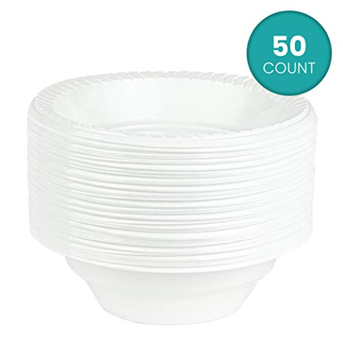 Plasticpro Round Plastic Plates And Bowls Microwaveable, Disposable, White, (50, 16 ounce)