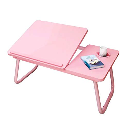 Protable Computer Laptop Table,Foldable Sofa Breakfast Tray for Eating,Picnic Storage Desk,Stand Reading Holder for Floor (Pink)
