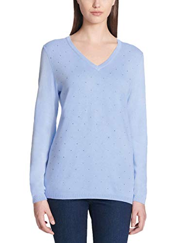 DKNY Jeans Ladies' Rhinestone Embellished Sweater (Blue, Small)