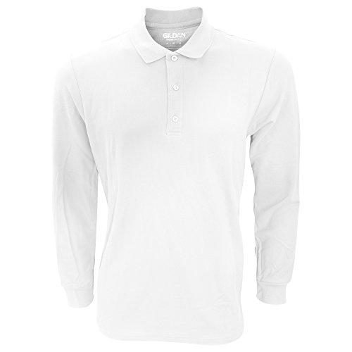 Gildan - Polo à Manches Longues - Homme (2XL) (Blanc)