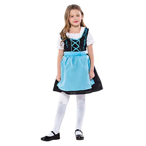 PRETYZOOM Kleines Mädchen Oktoberfest Kostüm Fraulein Bayerisch Dirndl Cosplay Kleid Biermädchen Deutsch Bayerisch Ausstattung Deutsch Biermädchen Ausgefallenes Tuch für Oktoberfest Party S