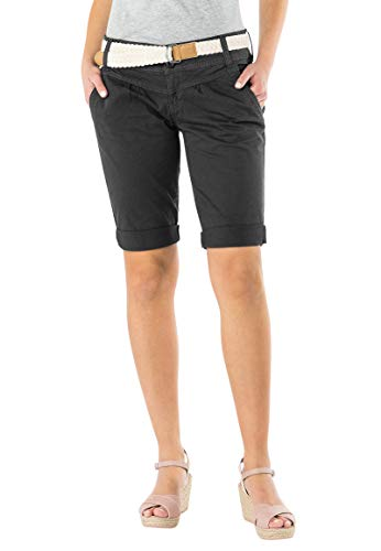 Fresh Made Damen Bermuda-Shorts in Pastellfarben mit Gürtel Dark-Grey M