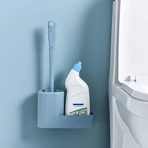 Qisiewell WC Bürste Blau mit Halter Wandmontage & Stehen Silikon Toilettenbürste Set Langer Stiel klobürste und schnell trocknendem Haltersatz für Badezimmer oder Gäste-WC