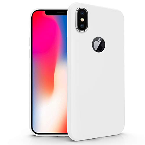 N NEWTOP Funda compatible para Apple iPhone X, funda de TPU suave gel silicona ultra fina flexible carcasa trasera protectora (blanco)