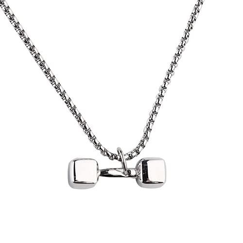USUSAI Collar con colgante de mancuerna de plata de acero de