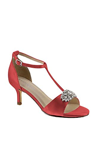 David's Bridal Satin T-Strap Sandals with Crystal Embellishment Style Ophelia, Guava, 12