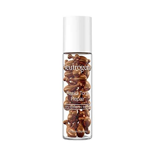 Neutrogena Rapid Tone Repair Brightening Capsules Antioxidant To Brighten Look of Dark Spots Even Skin Tone OilFree Capsules, 20% Vitamin C Serum, unscented, 30 Count