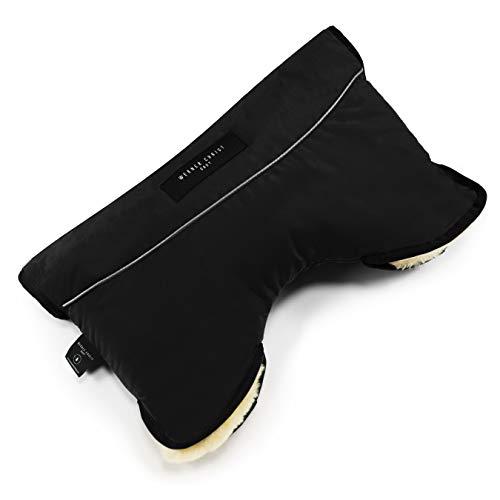 Kinderwagen-Muff aus Lammfell von WERNER CHRIST BABY - MOFFY ist der ideale Handwärmer für Buggys beim Spazieren mit Ihrem Baby, medizinisches Fell, einfache Handhabung, Handmuff in schwarz
