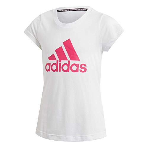adidas adidas Mädchen Must Haves Badge of Sport T-Shirt, White/Semi Solar Pink, 116