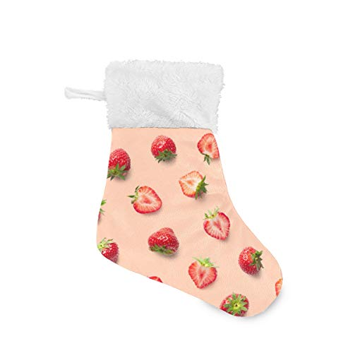 Serenasyoung Weihnachts-Mini-Strümpfe, realistische Erdbeer-Schnittmuster, Strümpfe, Geschenkkarten-Halter, Klassische Strumpf-Dekorationen für die ganze Familie, 4 Pack/6 Packungen à 20 x 14 cm