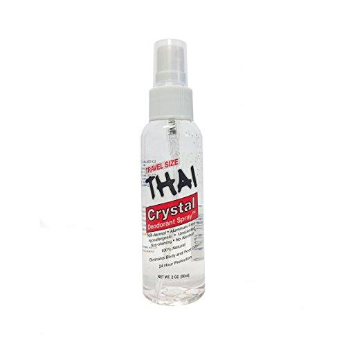 THAI Travel Sized Crystal Mist Deodorant Body Spray, Unscented, 2 Fluid Ounce
