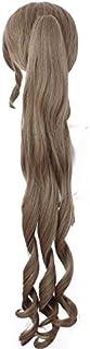 PWEINCY Aerith Gainsborough Cosplay Wig FF7 Long Curly Ponytail
