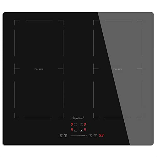 Induction Hob Flexi Zones, Electric Cooktop 60cm Built-in Hob with 4 Burners 2 Flex Zones for BBQ, Crystal Glass Panel 220~240V