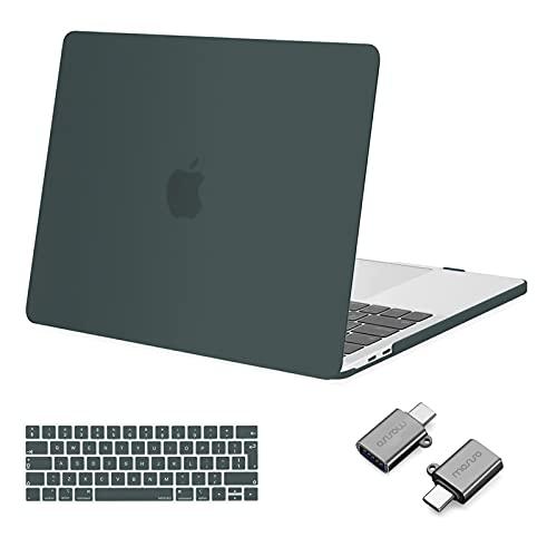 MOSISO Case Compatibile con MacBook PRO 13 Pollici 2016-2020 Uscita A2338 M1 A2289 A2251 A2159 A1989 A1706 A1708, Custodia Rigida in Plastica&Tastiera Cover&Tipo C Adapter, Midnight Green