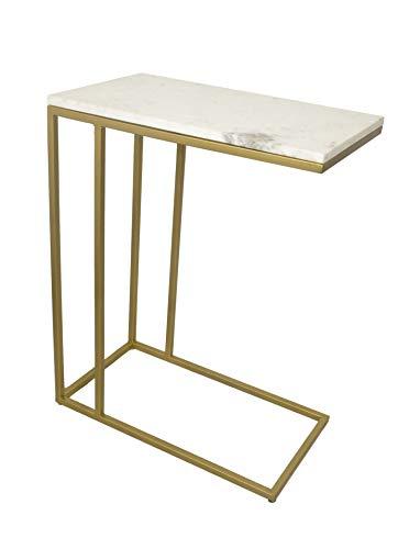 Aspect Romy C-Sofa Side/Laptop Table (White marble/Gold Frame, 51x28x66(H) cm), Iron
