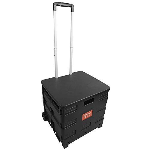 BPT Transport Trolley klappbar bis 35kg Einkaufstrolley Einkaufswagen Klappbox Transportwagen Shopping Trolley Faltbox Aluminium Kunststoff (Mit Deckel)