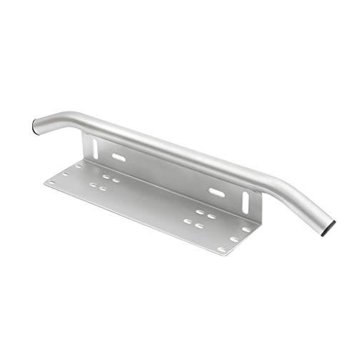 nowear Auto-23 Silver Bull Bar - Barra de aluminio para parachoques delantero de matrícula de coche, soporte para luz de trabajo, soporte para lámpara de trabajo