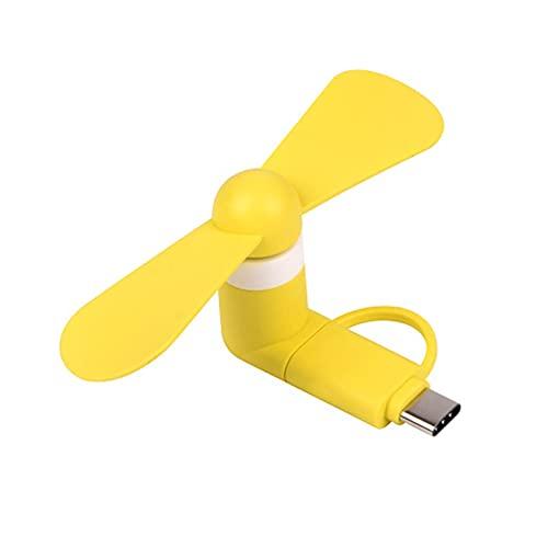 Mini ventilador para teléfono USB, paquete de 5, 3 en 1, ventilador de refrigeración micro USB, ventilador giratorio de refrigeración portátil con dos hojas para teléfonos inteligentes Apple, Android