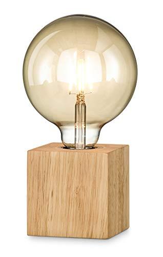 loxomo - Holz-Würfel Tischleuchte, 9 x 9 x 9 cm, Holz Tischlampe mit E27 Fassung, bis max.60W, Dekoleuchte für Edison retro industrial Glühbirnen, IP20, Holz Eiche