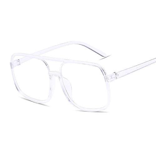 DLSM Gafas de Sol de Las Mujeres de Gran tamaño Cuadrado Black Marco Rosa Gafas de Sol Rosa Gafas de Espejo Gafas Unisex Gradiente Hip Hop Shades-Transparente