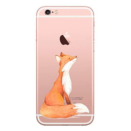 Caler Hülle Kompatibel/Ersatz für iPhone 6S/6 Hülle Weiche Flexible Silikon-Handy-Hülle Transparente Ultra Slim TPU dünne stoßfeste mit Motiv Tasche Etui Schutzhülle Hülle Cover(Fuchs)