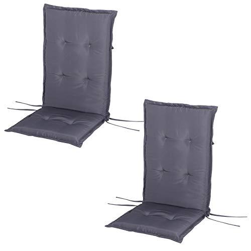 Outsunny Stuhlauflage, 2er Set, Auflage für Gartenstuhl, Sitzkissen mit Rückenlehne, Hochlehner, Polster, Polyester Grau 120 x 48 x 4 cm