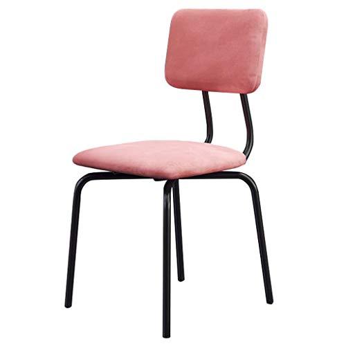 ZfgG barkruk, eettafel, zijstoelen, voeten van metaal, voor eetkamer, stoelen, bar/pub, kruk, modern, vrije tijd, gestoffeerde stoel, zitting van velours, roze