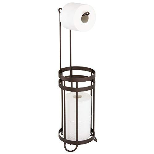 mDesign Portarrollos de pie para papel higiénico – Moderno portarrollos de papel higiénico para el baño para varios rollos – Dispensador de papel higiénico para 3 rollos de repuesto – color bronce