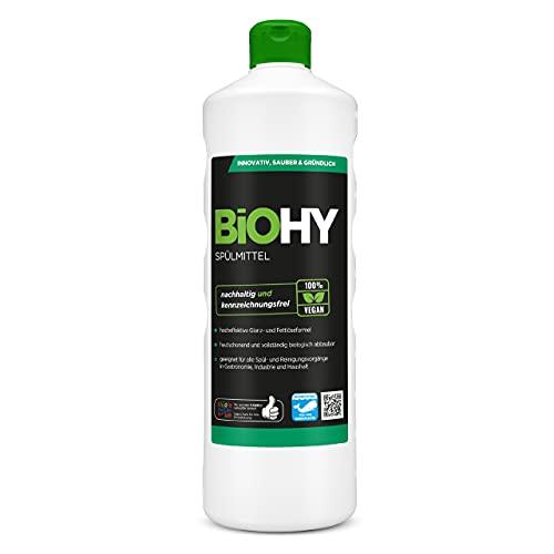 BiOHY Detersivo per piatti (Bottiglia da 1l) | Privo di sostanze chimiche nocive e biodegradabile | Formula lucida e dissolvente per grassi (Spülmittel)